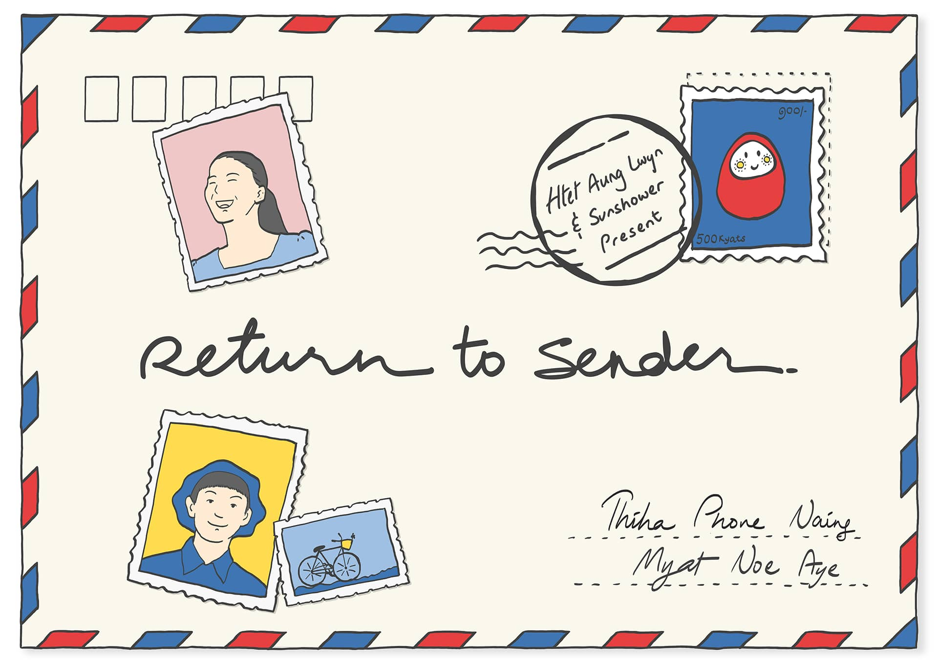 Return to Sender Poster, mailing envelope with stamps and the text 'Return to Sender' written on it