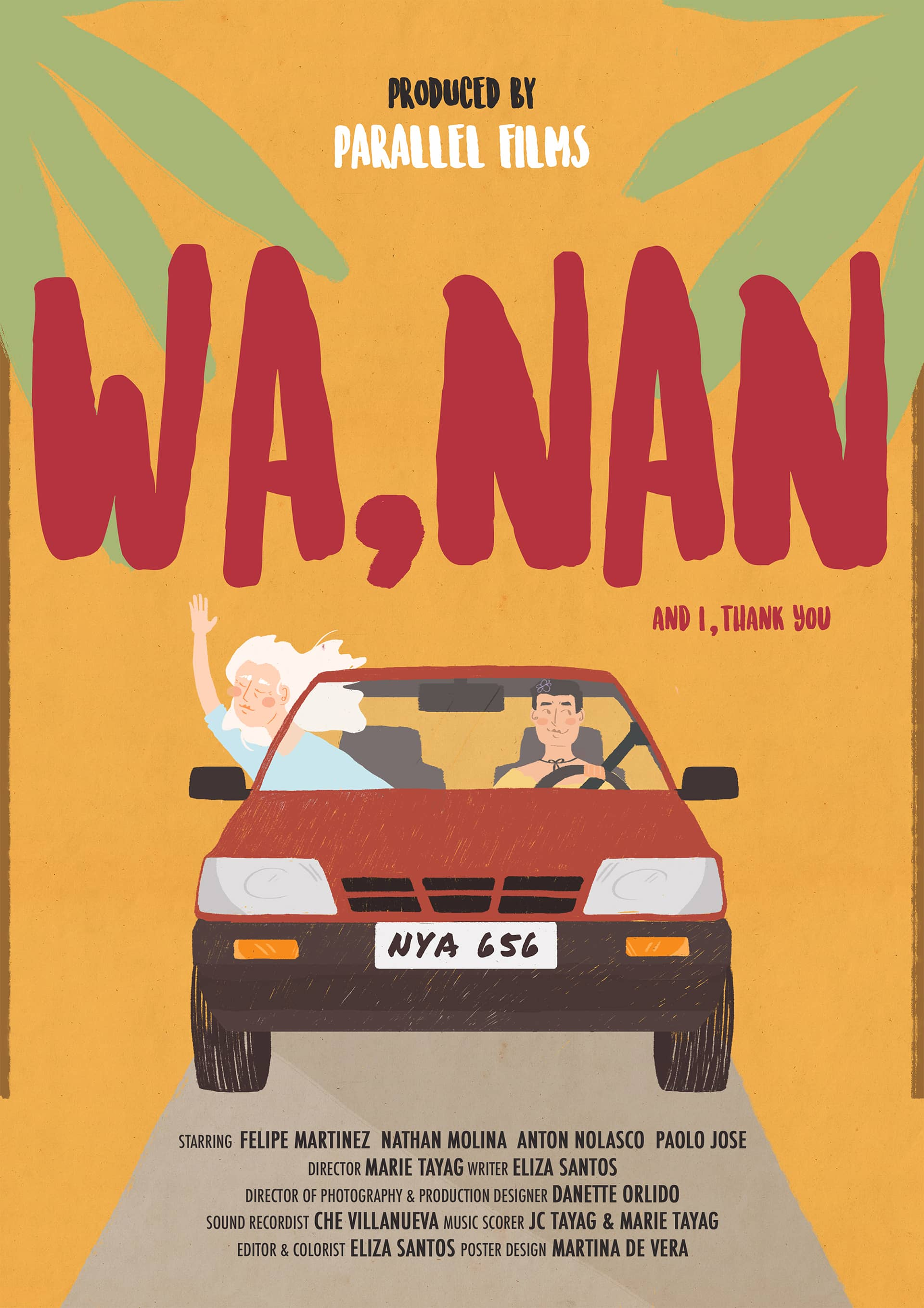Wa, Nan Poster, red car with two people in the front seats, one of whom is waiving