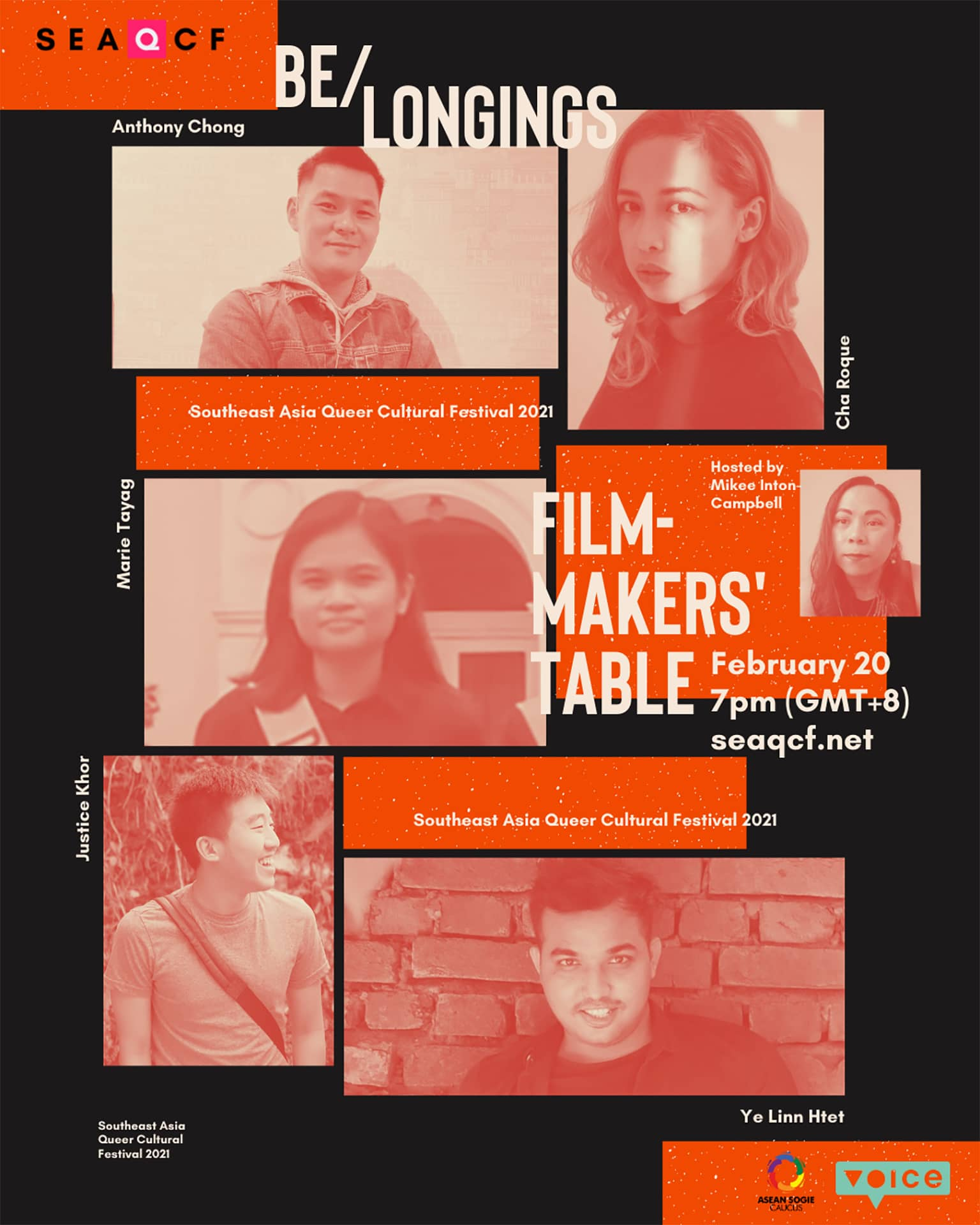 Filmmaker's Table, photo collage of Cha Roque, Anthony Chong, Marie Tayag, Justice Khor, Ye Linn Htet and Mikee Inton-Campbell